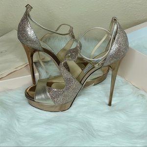 Champagne Glitter Jimmy Choo heels.